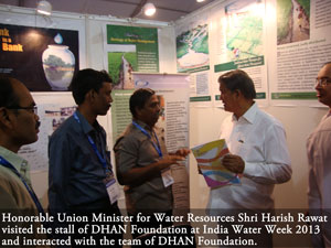Honorable water Resources Development Minister Shri.Harish Rawat visited the stall and interacted with the team of professionals from DHAN